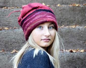 felt hat, Rasta cap, Handmade Nuno Felted hat, felted beanie, felt cap, Rasta beanie, hat fashion, ooak hat, Felt Hat for Women, nuno felted