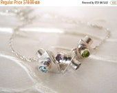 ON SALE Sterling Silver Geometric Bead Necklace Blue Purple Green Triangle Pyramid
