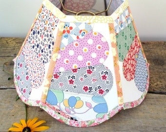 """Uno Quilt Lamp Shade Lampshade Vintage Calico Fabric Shade for Standing Bridge Lamp 6""""x12""""x8"""" high - Lampshade threads onto socket - Country"""