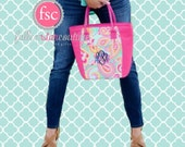 Monogrammed lunch bag , personalized lunch bag , beach cooler  , vacation beach cooler bag , insulated lunch tote , PAISLEY