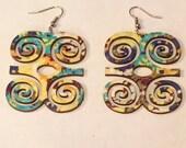 Adinka Tribal Fabric Covered Wood Earrings