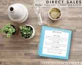 mini facial instructions cards - watercolor blue background, 3 inch square, printable instant download
