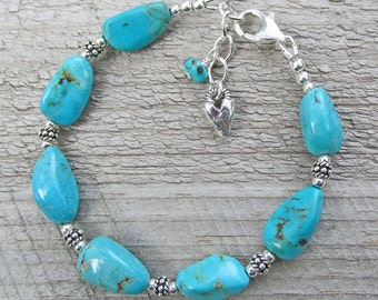 Blue Turquoise Silver Heart Boho Bohemian Natural Gemstone Healing Bracelet