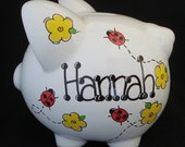 Personalized Piggy Bank - Ladybug with Yellow Flowers
