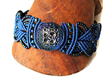 Blue Macrame Bracelet with Czech Glass Button - Micro Macrame Bracelet - Intricate Knotted Bracelet