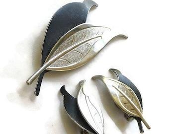 Vintage Silver Tone & Black Enameled Leaf Brooch or Pin and Earrings Demi Parure Set