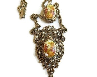 Slide Pendant Cameo Necklace with Porcelain Fragonard Courting Couple Vintage Victorian Revival