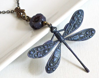 Purple Dragonfly Necklace - Dragonfly Jewelry, Patina Jewelry,  Nature Inspired Jewelry