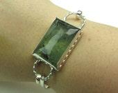 Large Green Prehnite Rectangular Gemstone Sterling Silver Cuff Bangle Bracelet - Gemstone Silver Cuff - Sterling Silver Bracelet - B-003