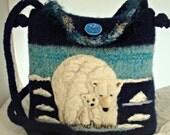 VALENTINE  SALE Felted Wool Purse, felted wool handbag, Polar Bear art, bear art, Hand knit felted purse