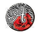 """50% OFF - Pocket Mirror, Magnet or Pinback Button - Party Favors 2.25"""" -  Zebra Initial Red Rose MR129"""