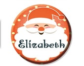 """50% OFF - Personalized Name Santa Pocket Mirror, Magnet or Pinback Button - Party Favors 2.25"""" MR474"""