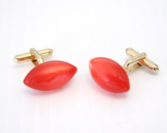 Vintage 50s Red Lucite Cuff Links Red Moonglow Lucite 1950s Cufflinks Mens Accessory Signed Swank