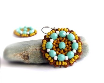ON SALE SALE - Mustard Turquoise Patina Beadwork Drop Earrings Bohemian Beadwoven Red Blue Yellow Colorful Boho Jewellery