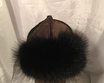 Beautiful Mongolian, Russian, Cossack, Norse, Celtic, brown suede hat with black fox fur and black horse hair tassel