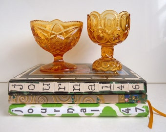 2 Vintage Footed Candy Dishes Kemple Hobstar and Fan Amber Glass Footed Candy Bowl Dish