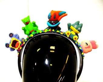 OOAK BLIM Headband Blokemon Rainbow