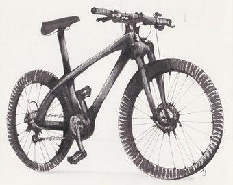 Mountain Bike original drawing by Andrea Joseph