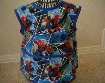 Toddler Blue Spiderman Art Smock or Apron with Royal Blue Bias Trim. Size 3t-4t