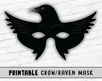 Raven Mask | Printable Halloween Mask | Crow Mask | Kids Party Mask