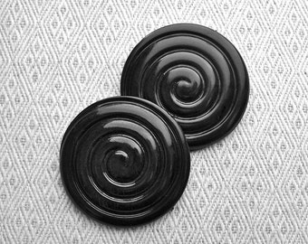 MAMMoTH PAiR Black Vintage Shank Buttons 44mm - 1 3/4 inch Giant Grooved Glossy Spiral Swirl Buttons - 2 VTG NOS Black Plastic Buttons PL174