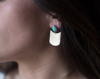 Silver Dangle Earrings, hammered, turquoise, sterling, drop earrings // SWOON EARRINGS