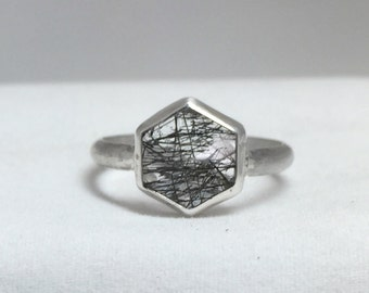 Tourmalated Quartz Sterling Silver Hexagon Ring/ Black Rutilated Quartz Ring