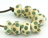 Ivory and Aqua Spots Handmade Glass Lampwork Beads (8 Count) by Pink Beach Studios (1233)