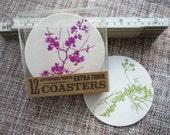 Pressed Flower Letterpress Coasters - set of 12