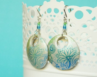 Gradient Blue and Green Screenprinted Polymer Clay Earrings