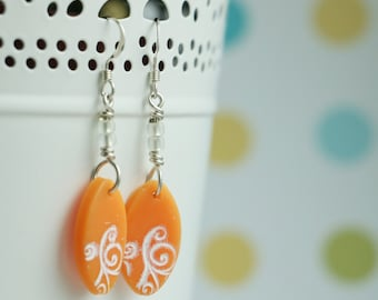 Creamsicle Feather Earrings with Swirls