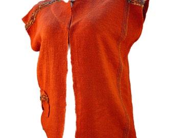 Rust Handwoven Lightweight Cotton Long Vest