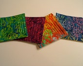 Quilted Fabric Coasters Set of Four in Bright, Floral Prints