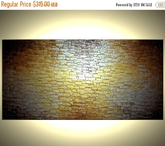 Gold Palette Knife Painting, Original Abstract Art, Bronze Large Painting, by Lafferty - 24X48, Sale 22% Off