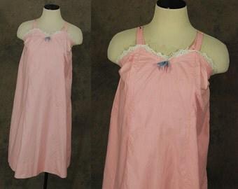 Clearance SALE vintage 60s Slip Dress - Pink Cotton Tent Dress Sundress 1960s Slip Lingerie Sz XS