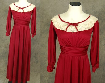 vintage 70s Maxi Dress - 1970s Maroon Red Sheer Lace Collar Dress Sz S