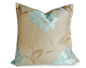 Taupe Blue Pillow Cover, Copntemporary Floral Pillows, Iridescent Throw Pillows, Elegant Cushion Cover, Flowers, 18, 20, 22, 24, 26 inch