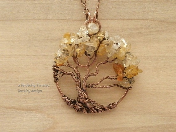 wire wrapped tree of pendant necklace by perfectlytwisted