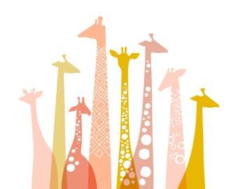 "14X11"" giraffe silhouettes landscape giclee print on fine art paper. Pink, mauve, gold."