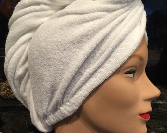 Organic-Eco friendly Bamboo, New designed Hair Towel Wrap made from short  loop Terry Knit or bamboo interlock in natural