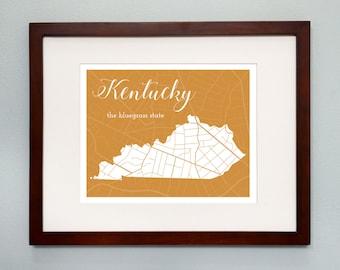 Kentucky State Map Print - 8x10 Wall Art - Kentucky State Nickname - Typography - Housewarming Gift