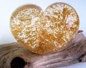 Vintage Alaskan Gold Glass Paperweight Golden Flow Studios, American Hand Blown Amber Bubbles Golden 23kt Flecks Floating Heart Snowglobe