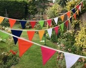 Carnival Bunting / Fabric Garland / Banner -  25ft long with 32 flags, great for birthday parties, fetes