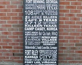 Military address sign, Custom subway art sign, multiple address sign, typography sign, personalized travel sign, memory sign