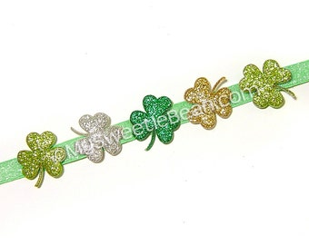 Shamrock Headband, Irish Princess Clover Headband, Mint Silver Gold Green Shamrock Halo, March Baby Gift, Toddler Girls, Women, Glitter Halo
