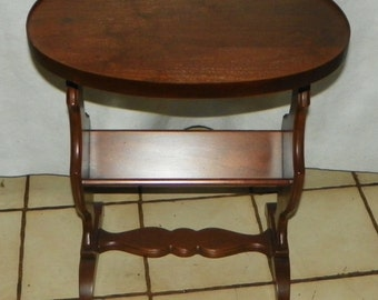 Oval Mahogany Bookshelf End Table / Side Table (T547)