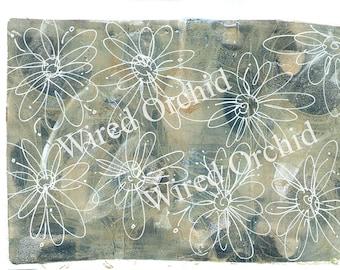 Laser Copy of Original Acrylic Artwork / Denim Blue, White Floral Design