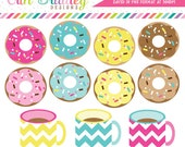 Coffee and Donuts Clipart Clip Art Personal & Commercial Use Instant Download