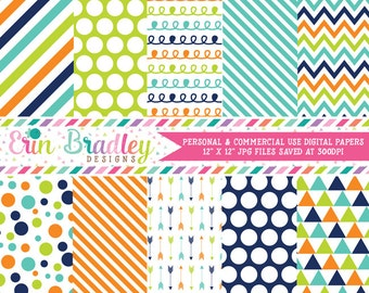 Commercial Use Digital Paper Pack Navy Blue Orange & Green Stripes Arrows Polka Dots Chevron Triangle Doodle Patterns