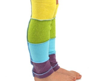 Leg Warmers for Kids in Sugar Candy - Mauve, Pale Blue, Apple Green, and Lemon Yellow - Recycled Sweaters - Eco Friendly